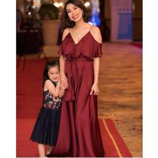 MAROON RED LONG GOWN DRESS (KARIMADON)