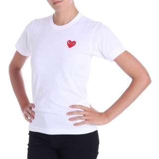 Japanese brand : Comme Des Garçons white T shirt 紅心白色 T恤 日本潮牌 炒款