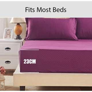 wine red bed sheet