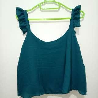 Formal Casual Green Croptop with Ruffles