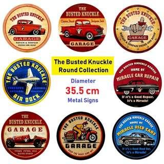 [Pre-Order] Busted Knuckle Licence Collection Round Metal Signs - Made In USA (Read Description)