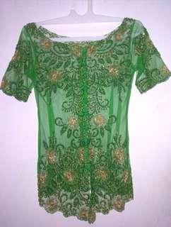 Kebaya full payet warna hijau Preloved
