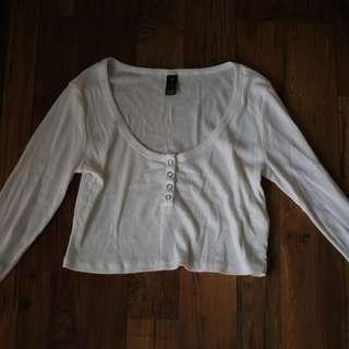 White Button Up Ribbed Top