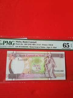 Malta 2 Liri W/2 055169  replacement STAR banknote  PMG graded 65EPQ