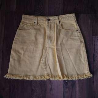 Mink Yellow Denim Skirt