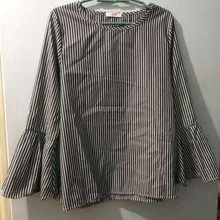 Ladies' Bell Sleeve Pinstripe Blouse