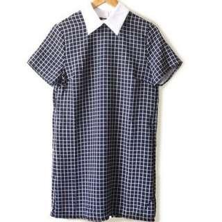 Ladies' Grid Patterned Shirt Dress
