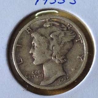1935s USA Mercury dime(silver)