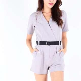 Wrap Front Sleeve Playsuit (Grey)