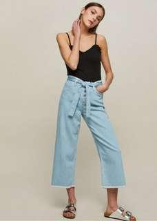 Miss Selfridge belted jeans culottes