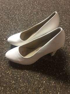 White pump heels