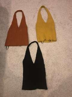 Halter neck knit tops