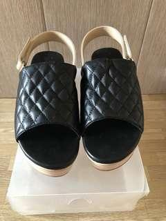 Black platform wedges sandal
