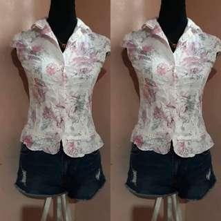 Glittery floral top
