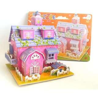 MAINAN ANAK PUZZLE 3D PINK HOUSE