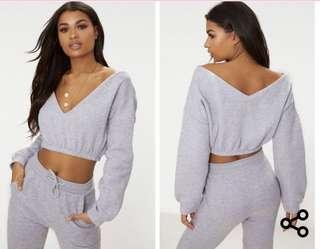 Pretty little thing off the shoulder crop jumper