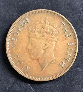 c115 Hong Kong 10 Cents Coin King George VI 1950 Nickel-Brass