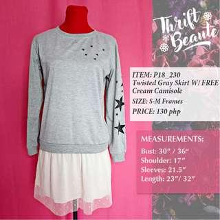 twisted Gray Shirt With Free Cream Camisole