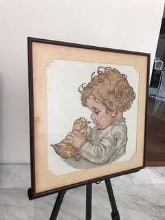 Vintage artwork boy and his duckling