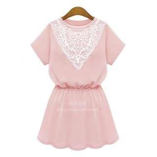 New! FREE POS Pink Pastel Lace Crochet Dress