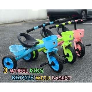 3 WHEEL KIDS BICYCLE WITH BASKET