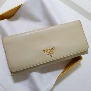 Prada Saffiano Metal Cera Biege Long Wallet 1M1132