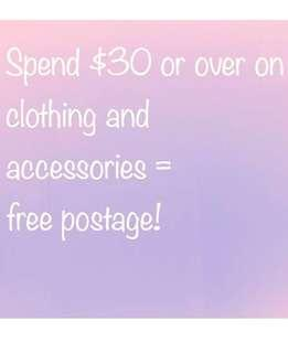 Free post on orders $30 and over