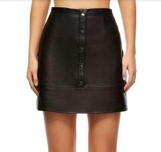 Kookai Salamanca Leather Button Skirt in Black [Size 34/6] RRP $240 Current!
