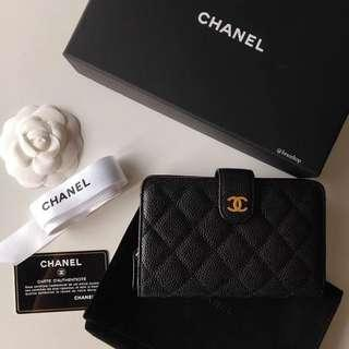 Authentic Chanel Black Caviar Quilted L-Zip Wallet