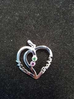 Swarovski white gold pendant with couple name *Preorder*