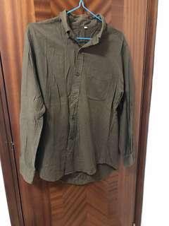Used Muji shirt 啡色 恤衫 size L