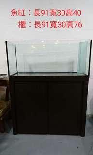 魚缸升級,便宜出售訂制三尺魚缸+櫃+鋼瓶+圓桶過濾器+燈。萬華一樓自取