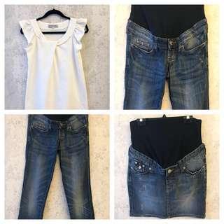 5 Maternity Pieces: Denim Skirt, Denim Jeans, White Top & White Pants