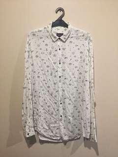 REPRICED Kemeja Zara Putih Allover Print size XL