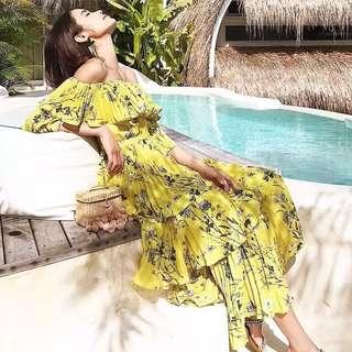 Self Portrait Remake Yellow Floral Tiered Summer Love Maxi (RRP $995) 🇬🇧