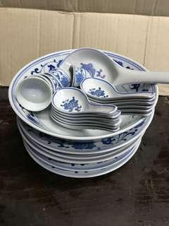 24 pcs of plate dish small cup and spoon