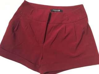 Forever 21, Maroon Shorts in size US small