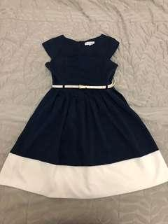 Chasing Kate Navy Blue White striped Dress