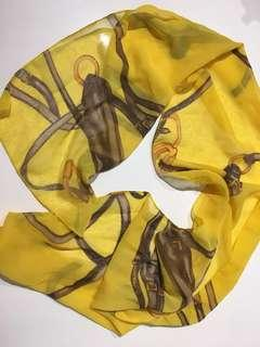 Leona Edmiston Vintage Equestrian Canary yellow and brown scarf