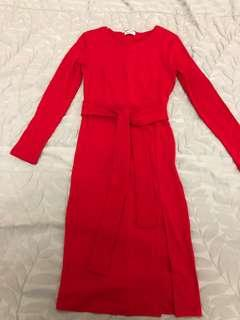 Red long sleeves slip dress