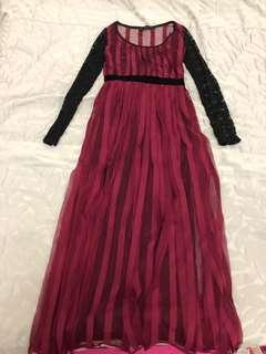 Elegant Black ruby lace long dress