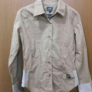 Preloved Kemeja Coklat Fit to L Mat Katun Tebal Import