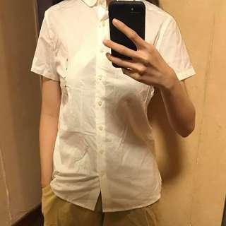 MUJI全新純白短袖上衣開胸鈕扣