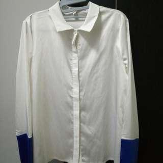 ulzzang white blouse with blue sleeve