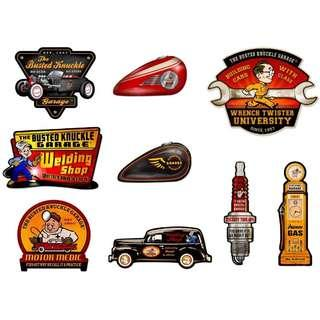 [Pre-Order] Busted Knuckle Licence Collection Custom Shape Metal Signs - Made In USA (Read Description)