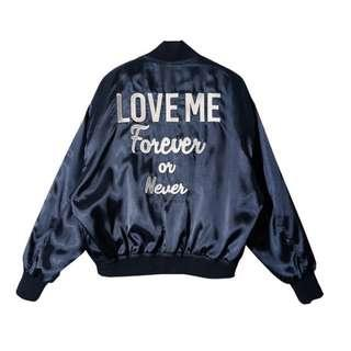 ulzzang satin blue bomber jacket