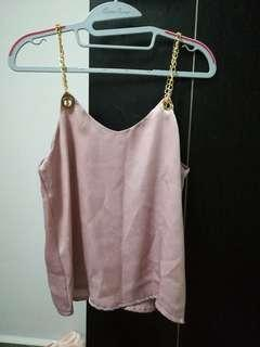 ulzzang pink satin sleeveless top
