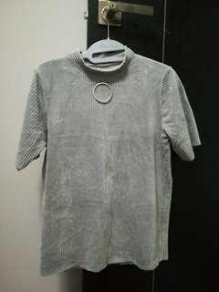 ulzzang grey knitted mock neck top with ring