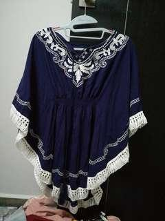 ulzzang blue bohemian embroided top