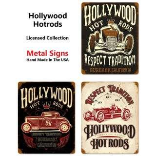 [Pre-Order] Hollywood Hotrods Licence Collection Metal Signs - Made In USA (Read Description)
